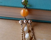 What Would Joan Holloway Do Repurposed Necklace with Vintage Green and Orange Bead and Long Hanging Pearl Bead Chain.