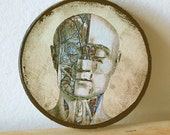 Within Without Altered Art Wood Circle Plaque with Vintage Illustration of Medical Anatomy Head.
