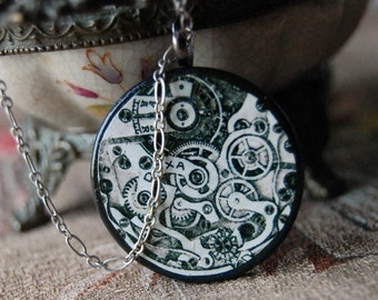 Top Gear Handmade Geek Necklace with Round Wood Pendant with Vintage Steampunk Illustration of Clock Inner Works.