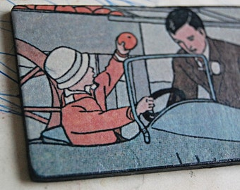 Hey Pops One of a Kind Handmade Art Plaque with Vintage Illustration of Boy and Dad.