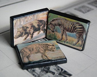 Handmade Menagerie Wood Art Fridge Magnets with Vintage Illustrations of Animals.