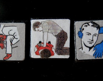 Help Me Now Handmade Vintage Small Wood Square Fridge Magnets Home Kitchen Decor with First Aid Illustrations.