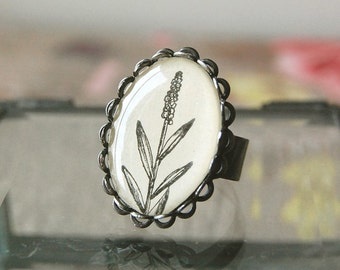 One Stalk Handmade Nature Spring Adjustable Vintage Cameo Ring with Filigree Surround.