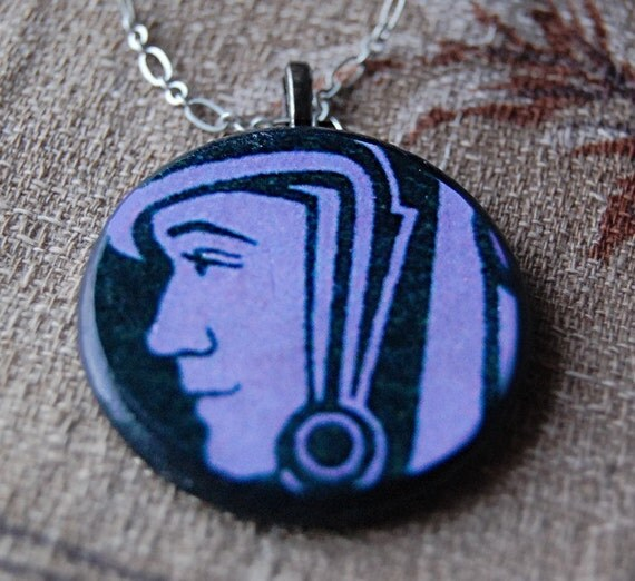 Grape Ape Necklace with Round Wood Pendant with Vintage Illustration of Astronaut.