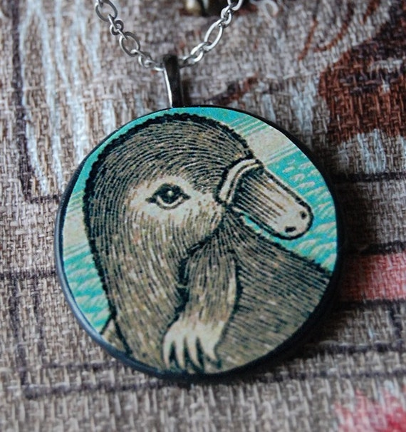 Cutie Pie Handmade Necklace with Round Wood Pendant with Vintage Illustration of a Platypus.
