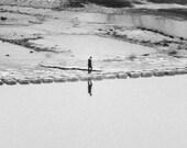 Walking Man Photograph Black and White River Crossing Korea Reflection 9x25 Photograph