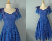 1980s prom dress / 80s party dress /  Edgey Lace