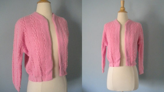 1950s sweater / 50s cardigan sweater / New old stock /Pale Rose
