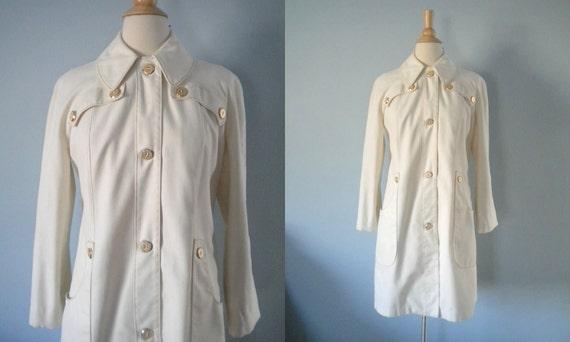 1970s coat / 70s canvas all-weather coat / Misty Harbor