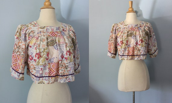 1960s blouse / 60s crop top / hippie cropped shirt /