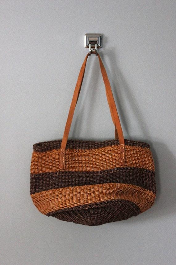 Reserved Listing for Jenn-Sisal bag / Striped natural woven tote bag / sisal and leather bag