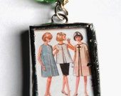 1.5 Inch X 1 Inch Soldered Vintage Sewing Pattern and Yellow and Green Fabric Charm Pendant with 30 Inch Ball Chain