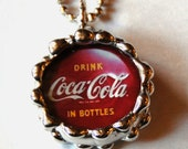 """1 Inch Beveled Circle Soldered Charm Pendant with Coca Cola Bottle Cap and Coca Cola logo and 30"""" Ball Chain"""