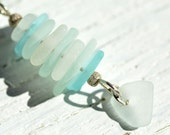 Aqua and White Stacked Sea Glass