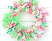pink and green preppy 12 inch wreath