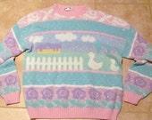 What the Duck / Vintage Pastel Sweater / M