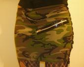 Reserved for Andrea Bos Green Camo Bondage Mini Skirt