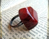 Red jasper ring -March Birthstone -  large smooth polished semiprecious stone and brass