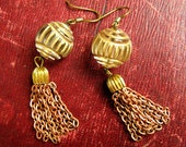 Gold Copper Tassle Earrings, Chain Fringe Earrings, Summer Statement Earrings