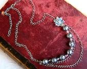 Blue Silver Statement Neckalce - lucite beads, lucite flower, antiqued silver chain