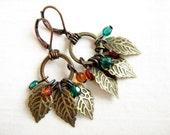 Fruitful tree earrings - brass leaves, Czech crystals
