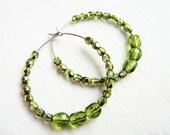 Verde hoop earrings - Czech crystal beads on sterling silver hoops