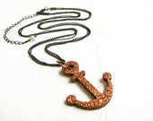 Anchor pendant necklace - handmade jewelry, wood, glitter, triple strand black chains
