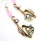 Love You Earrings in pink - hand charms, rhinestone embellishments