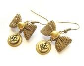 Bow Earrings -  little dangle, brass mesh bow ribbon earrings