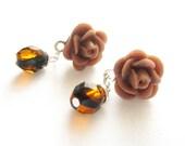 Mocha Rose Post Earrings, Sterling Silver Post Earrings, Flower Dangle earrings, more colors available