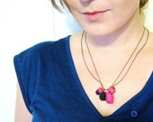 Polymer Clay Necklace, Geometric Necklace in Pink and Black - Rare Diamonds Collection