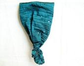 Turquoise Taffeta Headband, sequin embroidered,  elastic hair accessory, bandana head scarf - 10% Off all hair accessories, use code HAIR10