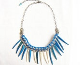 SUPER SALE Spike Statement Necklace, blue and ivory white coco fringe handmade woven necklace