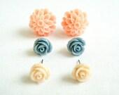 Flower Post Earrings - Sheer Blush Pastels  - Set of Three Pairs, Pink Peach, Grey, Apricot  Rose stud earrings