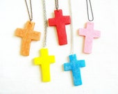 Neon Cross Necklace Punk Princess - Pop Art Color Block, Polymer Clay Pendant Necklace - Your Choice