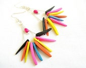 Rainbow Spike Earrings - Neon Jungle Queen Collection, Coco Tusk Spike Handmade earrings
