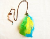 Neon Feather Necklace - Cockatoo in green, yellow, blue  - Jungle Queen Collection