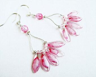 Rose Blush Earrings, Sterling Silver Dangle Earrings