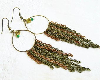 Extra Long Chain Earrings, Chain Statement Earrings, Hoop Chain Earrings