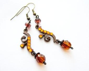 Ivy Dangle Earrings, Brass Statement Earrings, Floral earrings