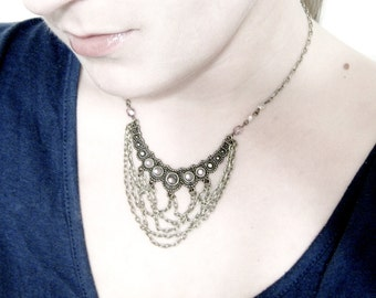 SALE - Chain Bib Necklace, Layering Chain Statement Necklace - Helen of Troy