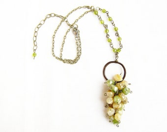 SALE - Grape Cluster Necklace, Statement Necklace