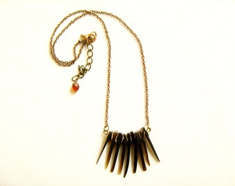 Shell Spikes Necklace, Dagger Spike Statement Necklace, Tribal Inspired Handmade Necklace
