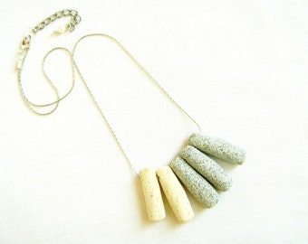 White Grey Necklace, Beach Stones Necklace, Modern Necklace, Gift under 20