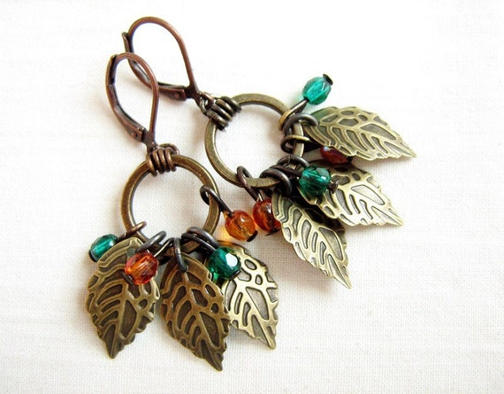 Fruitful tree earrings - brass leaves, Czech crystals