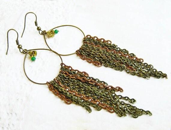 Long Statement Earrings, Fringe Chain Earrings, Long Earrings, Chandelier Earrings