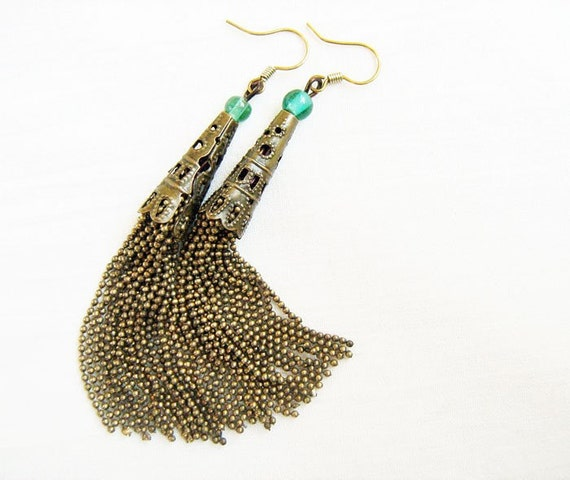 Chain Fringe Earrings - bronze chains tassels, filigree caps, glass