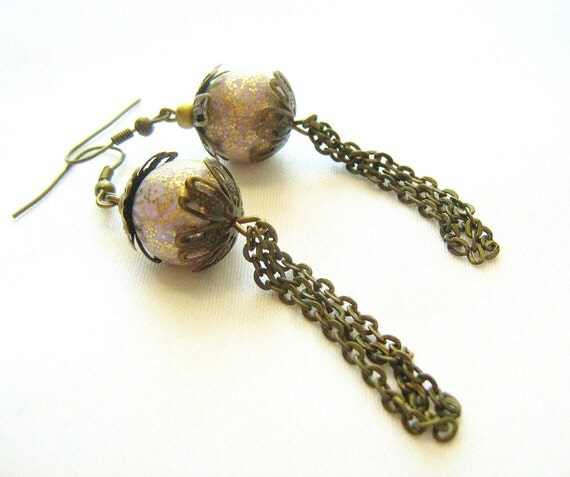 Bronze Fringe Earrings -  vintage lucite beads, flower caps, bronze