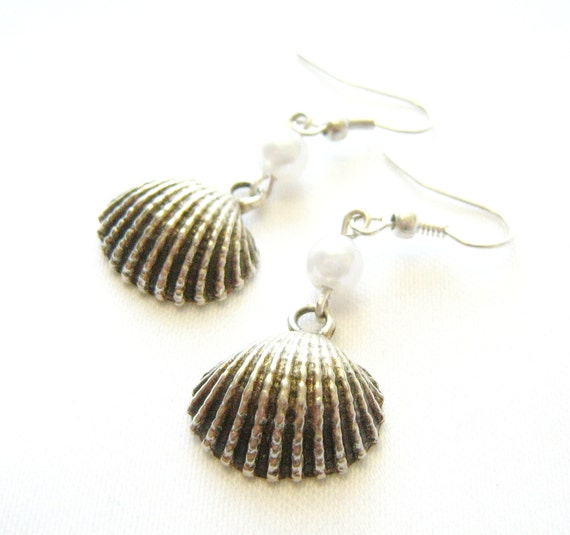 Pearl Shell Earrings- antiqued silver tone charm, glass pearl