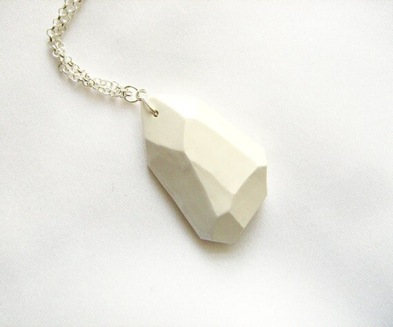 White geo necklace, big chunky nugget - Rare Diamonds Collection